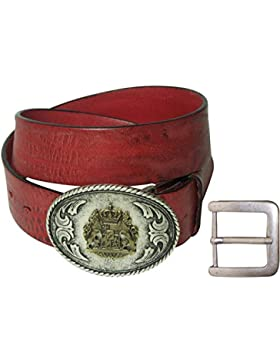 FRONHOFER Trachtengürtel Bayern Schnalle, Gürtel Tracht echt Leder braun, rot, schwarz, Löwe, Wechselgürtel
