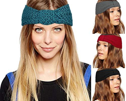 Odosalii Damen Gestrickt Stirnband Schleife Design Haarband Winter Geknotete Häkelarbeit Kopfband, Stirnband_a, Einheitsgröße