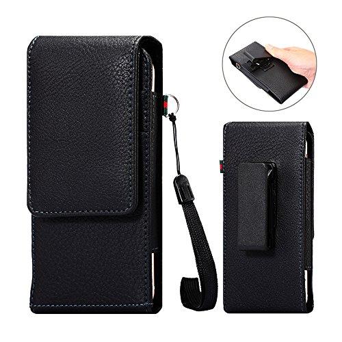 DAYNEW für 5.5 Zoll Universal-PU-Leder Hüfttasche Handytasche Tasche Smartphone Gürtelclip Haken Schleife Geldbörse Tasche für iPhone Samsung Sony Huawei-Schwarz