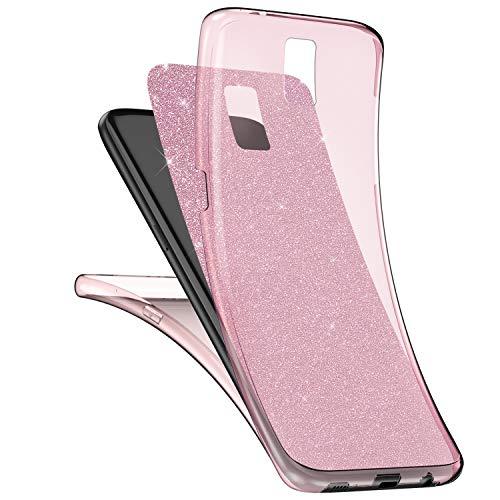SainCat Custodia Galaxy S5, Cover per Galaxy S5 360 Gradi Glitter, Ultra Slim Cover con Brillantini Full Body Protection Silicone Antiurto Cover per Samsung Galaxy S5-Rosa