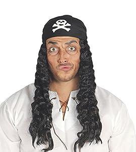Guirca - Peluca Pirata con pañuelo, talla única, color negro (4967)