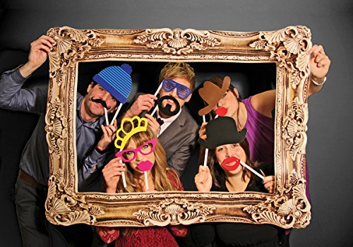 Photo Booth / Foto Requisite / XXL Bilderrahmen mit 24 witzigen Accessoires