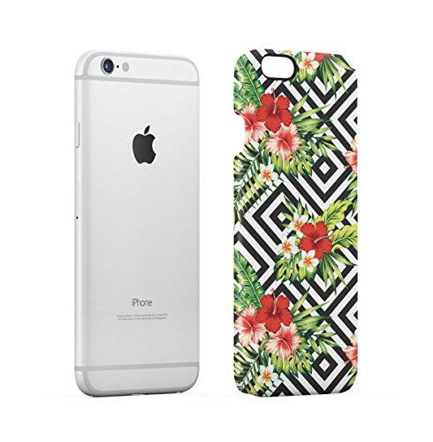 Tropical Flowers Pink Lotus Chevron Pattern Apple iPhone 6 , iPhone 6S Snap-On Hard Plastic Protective Shell Case Cover Custodia Red Hibiscus