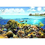 decomonkey | Fototapete Aquarium 400x280 cm | Tapete | Wandbild | Bild | Fototapeten | Tapeten | Wanddeko | Wandtapete | Wand Dekoration Schlafzimmer Wohnzimmer | Ozean Wasser Fische Pflanzen bunt Sommer Unterwasserwelt Meer Korallen Korallenriff