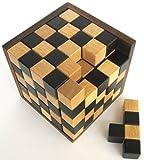 Schach-Würfel 125er Cube XL - 3D Puzzle - Denkspiel - Knobelspiel - Geduldspiel - Logikspiel im Holzrahmen