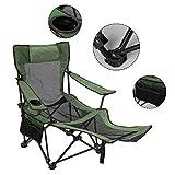 Portable Sedia di Campeggio, Outdoor Pieghevole Reclining Lounge Chair Pesca Poltrona Heavy Duty Campo Sedia da Giardino Lounger con poggiagambe, Supporto Fino a 150KG, 68 x 58 x 69 Centimetri
