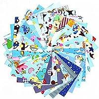 MeineBeauty Patchwork Stoffe DIY Gewebe Set Muster Gemischte Baumwolletuch Stoffpaket zum Nähen Tischdecke mit vielfältigem Muster (10cmx10cm(30 Stück), Blau)