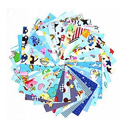 MeineBeauty 30 Stück Blau Patchwork Stoffe DIY Gewebe -