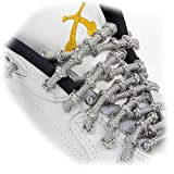 """XTENEX - X300 Grey 20"""" (PATENTED) Adjustable Eyelet Blocking No Tie Elastic Shoe Laces for an Extreme Lock In Performance Fit"""