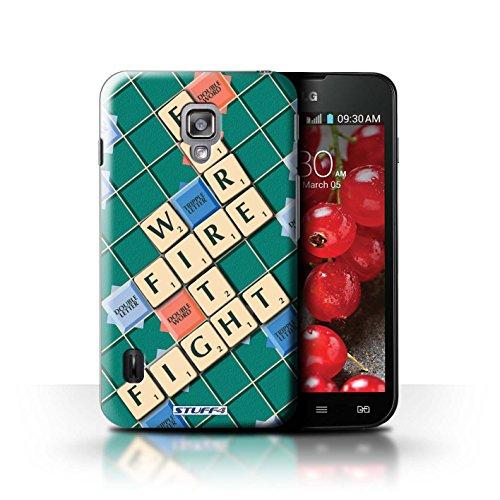 Kobalt® Imprimé Etui / Coque pour LG Optimus L7 II Dual / Ignorance Béatitude conception / Série Mots de Scrabble Lutte Incendie