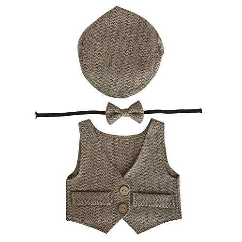 Kostüm Blume Infant - Amorar Newborn Photography Requisiten Baby Junge Overall Photo Costume Outfits Cute Gentleman Set Infant Kostüm Kleidung Nette Hut + Weste + Fliege Foto Fotografie Prop