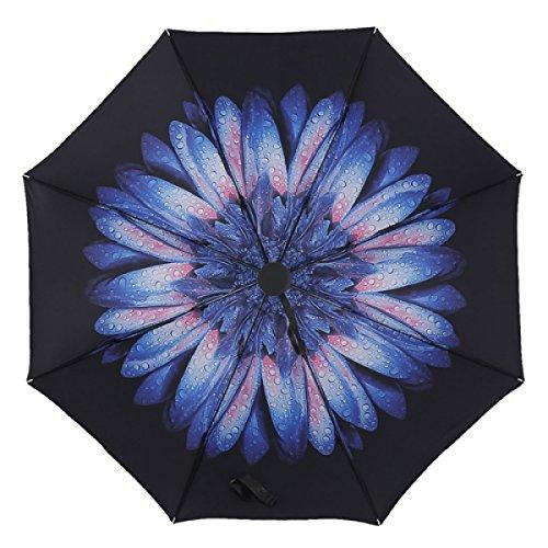 BUKUANG Schwarz Windundurchlässiges Sunscreen Automatische Folding Regenschirm Reise Mit Auto öffnen Und Schließen Für Einhänder,D