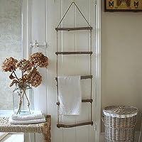 Home Organisation Shabby Chic Wooden Rope Ladder Towel Rail Rack Bathroom Bedroom Vintage Style
