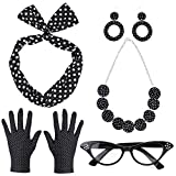 Beelittle Set di Accessori per Costume da Donna Anni '50 Set di Orecchini a Fascia a Fascia a Fascia a Pois Guanti per Collana Retro Cat Eye Eglasses (Nero)