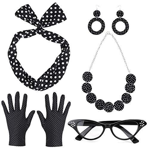 Kostüm Dress Dot Polka 50's - Beelittle 50's Damen Kostüm Accessoires Set Polka Dot Bandana Krawatte Stirnband Ohrringe Halskette Handschuhe Retro Cat Eye Eglasses (Schwarz)