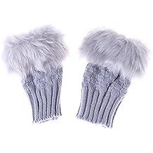 Lalang Women Fluffy Gloves Warm Winter Hand Wrist Fingerless Gloves Mittens