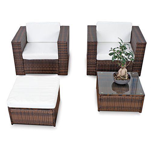 Sofa-möbel Outlet (XINRO® XXL Polyrattan Lounge Balkon Set erweiterbar - Balkon Gartenmöbel Lounge - braun-Mix - Balkon Lounge Möbel Set inkl. Lounge Sessel + Lounge Hocker + Lounge Tisch + Kissen)