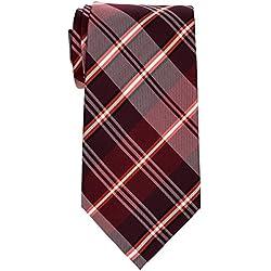 """Retreez elegante de cuadros escoceses Tejido microfibra 3.15""""hombres de la corbata rojo granate Talla única"""