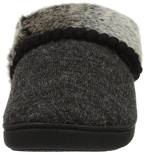 Isotoner Damen Fine Knit Mule Slippers Pantoffeln Schwarz (Black)