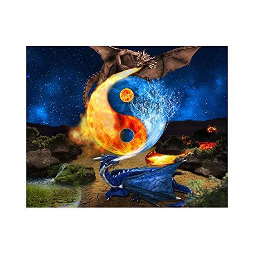 Antrygobin Tai Chi Dragon Cross Stitch Craft Fai da Te Mosaico Full Round...