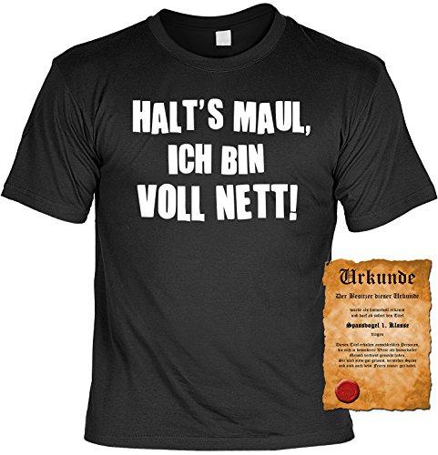 Witziges Spaß-Shirt Herren + gratis Fun-Urkunde: Halt`s Maul Ich bin voll nett Schwarz
