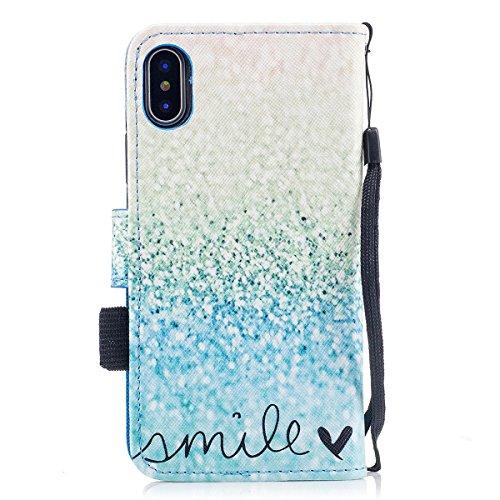 inShang Hülle für iPhone X 5.8 inch mit integriertem Brieftaschen-Design, iPhoneX 5.8inch cover case mit Standfunktion. Love green sand