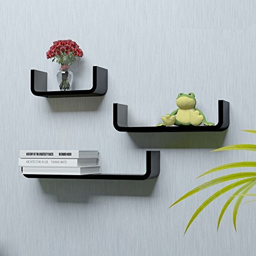 Custom Decor Wall Mounted Shelf Set of 3 Round U Shape Floating Storage Display Wall Shelves - Black