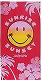 Handtuch XXL groß Hawaii Smiley in rot gelb 75x150cm • Badetuch • Strandtuch Badehandtuch