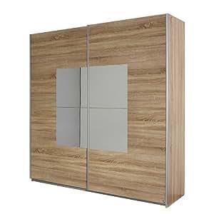 Corridore-armoire à portes coulissantes en chêne sonoma/miroir: 181 cm-largeur d'armoire 2 portes fumé pack ´ s