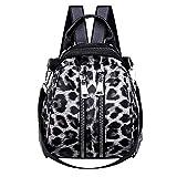 HCFKJ Tasche, Frauen Mädchen Leder Leopardenmuster Schultasche Rucksack Satchel Reise Umhängetasche (BK)