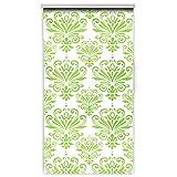 casa pura Design Duschrollo mit Ornamenten | viele Größen | schnelltrocknend | Deckenbefestigung mit Halbkassette | Halbtransparent, Muster grün | 160x240cm (BxL)