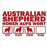 Siviwonder Auto Aufkleber AUSTRALIAN SHEPHERD Hunde Hören aufs Wort Hundeaufkleber 30cm red