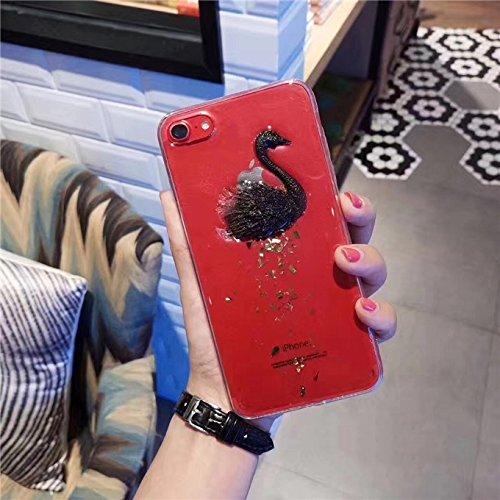 Phone Case & Hülle Für iPhone 6 Plus und 6s Plus Goldfolie 3D Crystal Swan Muster Transparent Schutzmaßnahmen Rückseite Fall ( Color : White ) Black