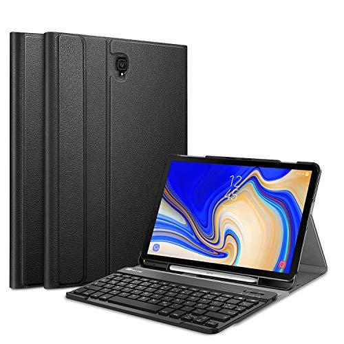 Fintie Tastatur Hülle für Samsung Galaxy Tab S4 T830 / T835 (10.5 Zoll) 2018 Tablet-PC - Ultradünn Schutzhülle mit magnetisch Abnehmbarer drahtloser Deutscher Bluetooth Tastatur, Schwarz