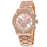 Pure Time® Damen-Uhr Strass Analog Quarz Armband-Uhr in Rose-Gold Chronograph Optik