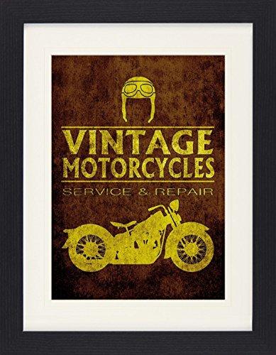 1art1 114128 Motorradsport - Vintage Motorcycles Service and Repair Gerahmtes Poster Für Fans Und Sammler 40 x 30 cm