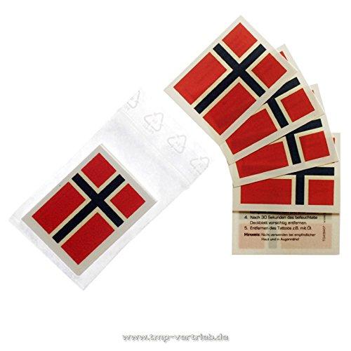 Norwegen Tattoo Fahne 5er Fan Set - EM Fanartikel 2016 - Norway Flag