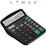 Tech Traders® Calculadora Calculadora de sobremesa, 12dígitos Pantalla grande electrónico calculadora solar y pilas AA (no incluido) de alimentación dual (negro)
