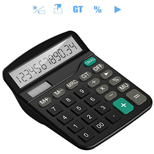 Tech Traders®, calcolatrice da tavolo 12cifre con ampio display elettronico. Calcolatrice a energia solare e batterie AA (non incluse), colore nero