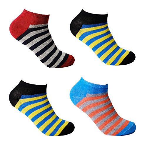 L&K-II 12 Paar Damen Sneaker Socken Mädchen Füßlinge Bambus mit Ringel Punkte Muster 92280 35-38