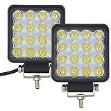 Faros de Trabajo Led,AUXTINGS 48W Luces Trabajo Led Spot LED Light Bar Montaje de luces de antiniebla 4800LM IP67 Impermeable para Off-Road, Camión,Coche, ATV, SUV, Barco(2PCS)