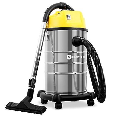 Klarstein IVC-30 Aspirateur industriel pour eau et poussière (avec tuyau d'aspiration de 1,6 m, câble d'alimentation de 8 m + accessoires, 30 L, 1800 W, filtrage double) - jaune