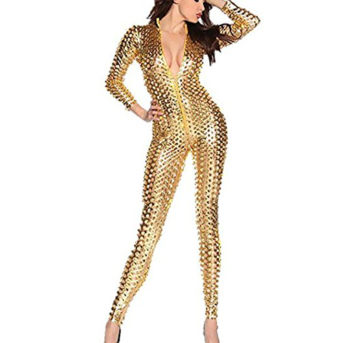 Catsuit Catwoman Kostüme Jumpsuits Overall PVC Wet Look Leder Clubwear Kleid Bodysuit Mit Loch und Reißverschluss (Catsuit Für Frauen)