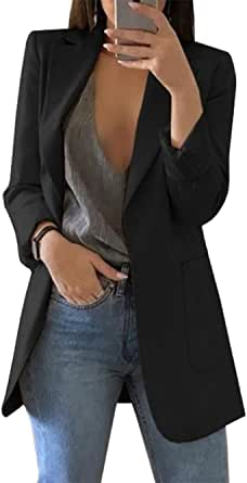 OLIPHEE Giacche da Abito e Blazer Lunga Aperto Davanti A Tinta Unita Cardigan Eleganti per Ufficio per Ragazze e Donna