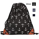 KIIMOO Turnbeutel Rucksack Segeltuch, Sportbeutel Tasche Rucksack Canvas mit Reißverschlusstasche für Damen Mädchen (Schwarz)