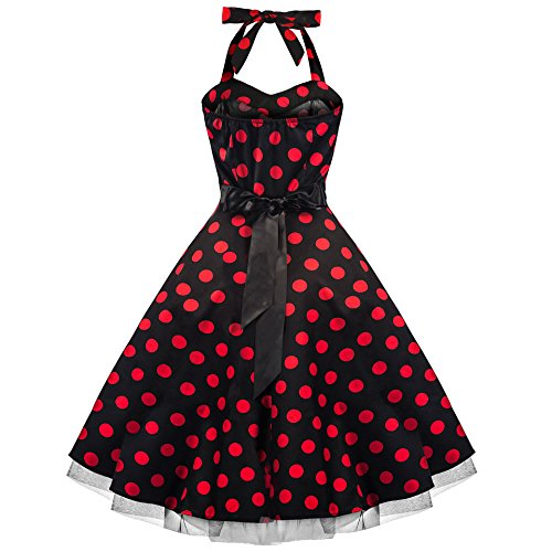 Pretty Kitty Fashion 50s Groß Rot Polka Dot Schwarz Weiß Neckholder Cocktail Kleid XXL -