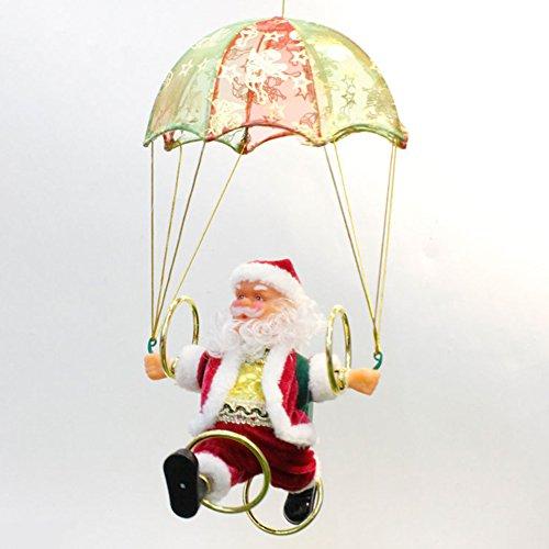 MAJGLGE Elektrischer Weihnachtsmann Plüsch Puppe Fallschirmmann Kinder Baby Plüsch Spielzeug Rot