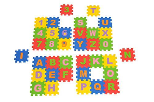 BabyGo Play Mat Foam with Alphabets and Numbers Jigsaw for Kids Children School( Small Size)