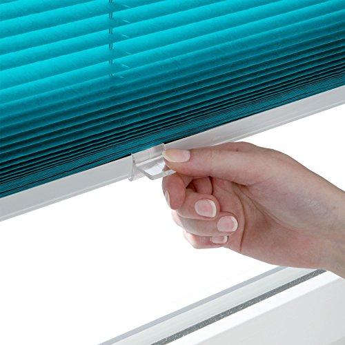 Plissee Rollo / Jalousie | Sichtschutz ohne Bohren, Klemmfix | Faltstore in moderner Crushed Optik | Türkis | Größe wählbar (100 cm Länge x 80 cm Breite) - 2