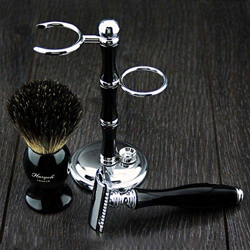 Luxe Nat Scheren Gift Set Kit - Double Edge Safety Scheermes- Das Brush- Stand